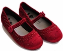 Coastal Projections Red Velvet Flats - Little Girl Shoes with Beading