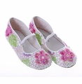 Coastal Projections Sequined White Shoes with Pink Flowers
