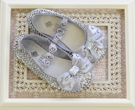 Coastal Projections Silver Girls Sequin Shoes with Bow