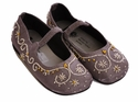 Coastal Projections Silver Satin Flats - Beaded Little Girl Shoes