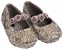 Coastal Projections Silver Sequin Flats Rosettes