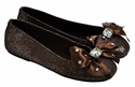 Coastal Projections Tween Girls Brown Glitter Flats