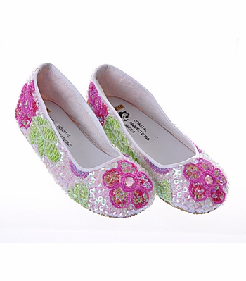 Coastal Projections White Sequined Ballet Flats Fuchsia Flower