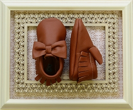 Coral Pear Shoes Brown Baby Moccasins with Bow