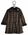 Corky Coats Girls Faux Fur Coat Brown Houndstooth