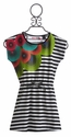 Desigual Black and White Stripe Girls Dress