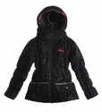 Desigual Black Coat for Girls with Velvet Print