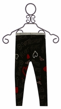 Desigual Black Legging with Red Hearts (Size MD 9/12)