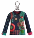Desigual Girls Blue Sweater in Fun Print