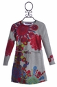 Desigual Girls Boat Neck Dress in Grey Bloom (4 & 7/8)