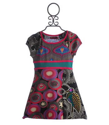 Desigual Girls Bubble Hem Dress with Bird