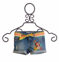 Desigual Girls Denim Short with Circle Applique (4,9/10,11/12)