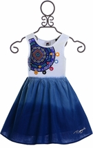 Desigual Girls Dress Blue Dip Dye