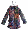 Desigual Girls Puffy Winter Coat Multi Print