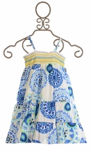 Desigual Girls Summer Dress in Blue and White
