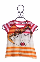 Desigual Girls Top with Face Graphic (Size 11/12)