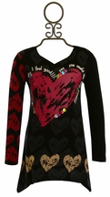 Desigual Heart Tunic Top Black and Red (Size 13/14)
