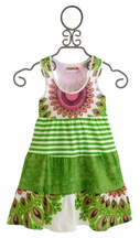Desigual Summer Dress for Girls in Tiered Green (Size 3/4)