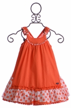 Deux Par Deux Girls Sundress Orange Swiss Dot (24Mos, 2, 5)