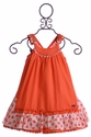 Deux Par Deux Girl Sundress Orange Swiss Dot