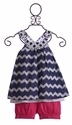Deux Par Deux Navy Chevron Top and Short