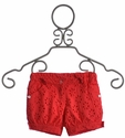 Deux Par Deux Red Eyelet Shorts for Girls