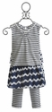 Deux Par Deux Striped Girls Dress with Legging