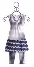 Deux Par Deux Striped Girls Dress with Legging (Size 12Mos)