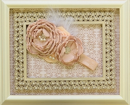 DollBaby Champagne Girls Headband with Peach