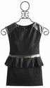 Dolls and Divas Girls Party Dress in Black Pleather