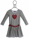Dolls and Divas Valentine Heart Girls Striped Dress