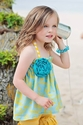 DreamSpun Aqua Top with Mustard Shorties for Girls (2, 8)