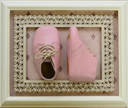 Elephantito Baby Bootie in Pink Scalloped
