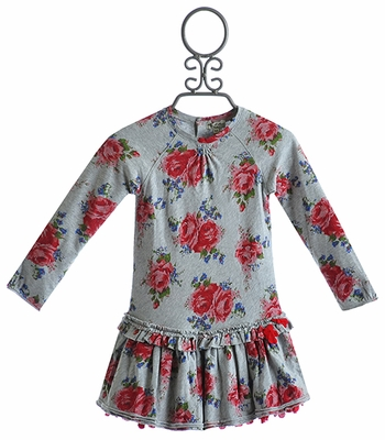 Eliane Et Lena Girls Floral Gray Dress