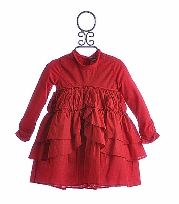 Eliane et Lena Red Moineau Little Girl Dress