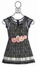 Elisa B Black Tween Dress Lovely Lace (Size 8)