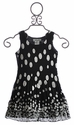 Elisa B Chiffon Dress for Girls Black Dottie