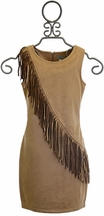 Elisa B Couture Fringe Dress for Tweens in Tan (7,8,10)