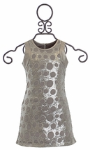 Elisa B Fitted Sequin Dress in Silver (Size 10)