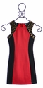 Elisa B Fitted Tween Dress Color Block Red (Size 7)