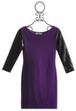 Elisa B Knit Tween Dress with Sequin Sleeves in Purple