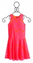Elisa B Lace Brights Pink Neon Dress