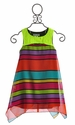 Elisa B Neon Stripe Girls Tween Dress