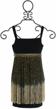 Elisa B Party Dress for Tweens with Fringe in Black (10 & 12)