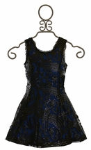 Elisa B Pleather Cutout Dress with Sequins (Size 14)