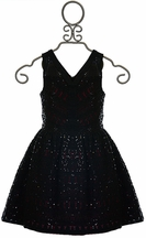 Elisa B Sequin Dress for Tweens in Black with Red