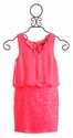 Elisa B Sequin Sunshine Pink Girls Dress (Size 8)
