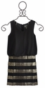 Elisa B Sleeveless Tween Dress with Striped Skirt