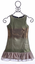 Elisa B Spring Green Sequin Tween Dress (Size 14)