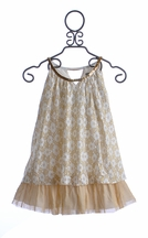 Elisa B Tween Dress in White and Gold Lace (7 & 10)